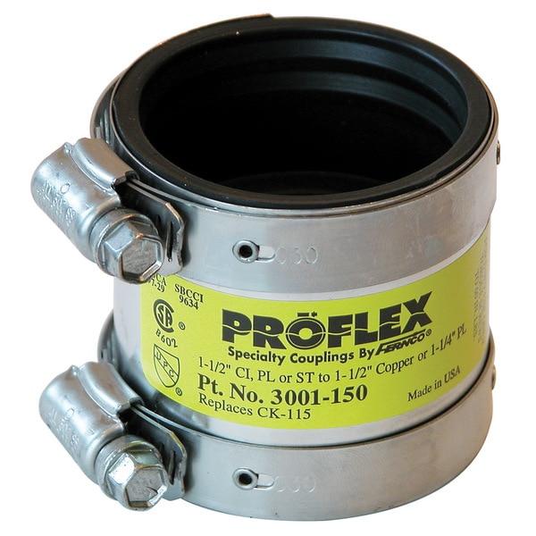 "Fernco P3001-150 1"" Proflex Reducing Coupling For Cast Iron, Plastic,Steel"