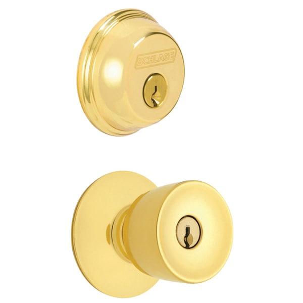 Schlage FB50NVBEL505605 Bright Brass Bell Keyed Knob Front Entry Set