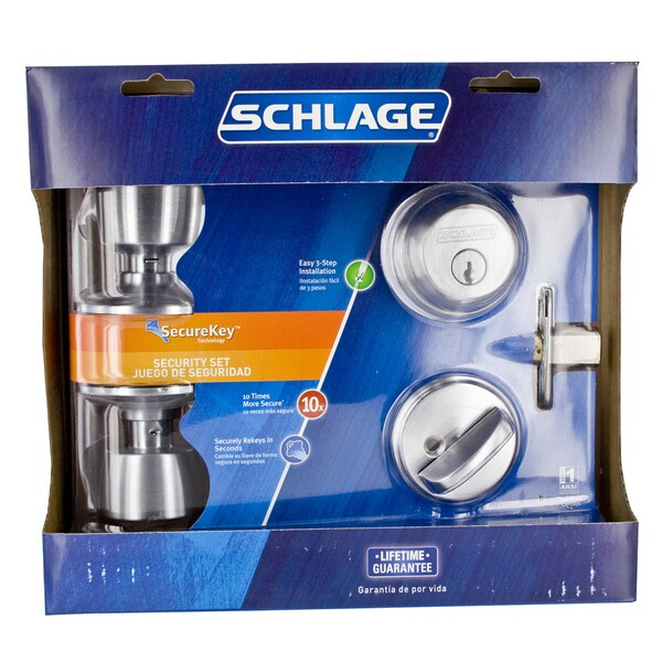 Schlage FB50NVBEL626 Satin Chrome Bell Keyed Knob Front Entry Set