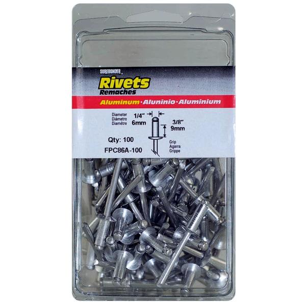 """Fpc Surebonder FPC86A-100 1/4"""" X 3/8"""" Aluminum Rivets 100-count"""