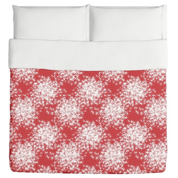 Stars Sparkle On Red Duvet