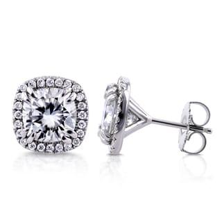 Annello 14k White Gold Cushion Moissanite and 1/3ct TDW Halo Diamond Stud Earrings (G-H, I1-I2)
