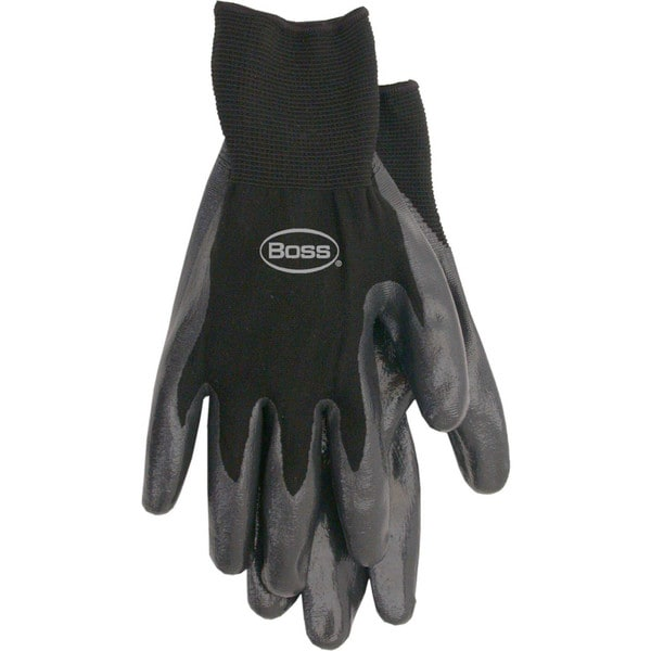 Boss Gloves 8436L Black Nitrile Palm Gloves