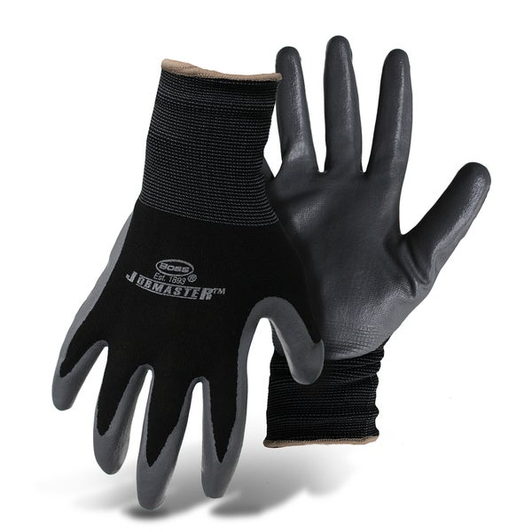 Boss Gloves 8442L Black & Gray Nylon With Nitrile Coated Palm Gloves