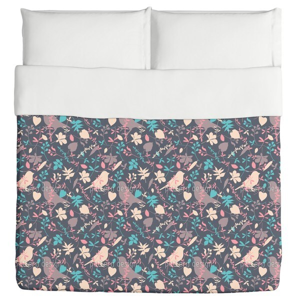 Birds Behind Floral Thicket Duvet