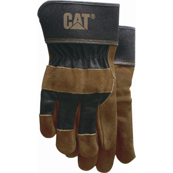 Cat Gloves CAT013200L Large Brown Leather Palm Gloves