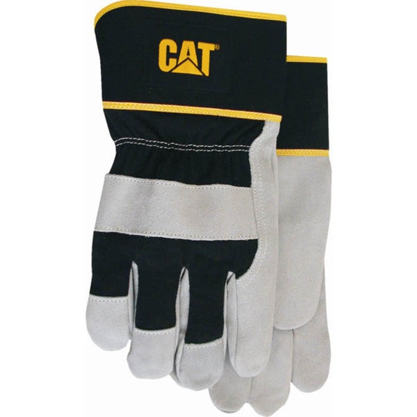 Cat Gloves CAT013201L Large Gray Leather Palm Gloves