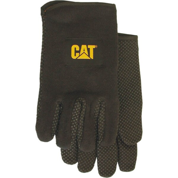 Cat Gloves CAT015300L Large Black Jersey PVC Dotted Palm Gloves