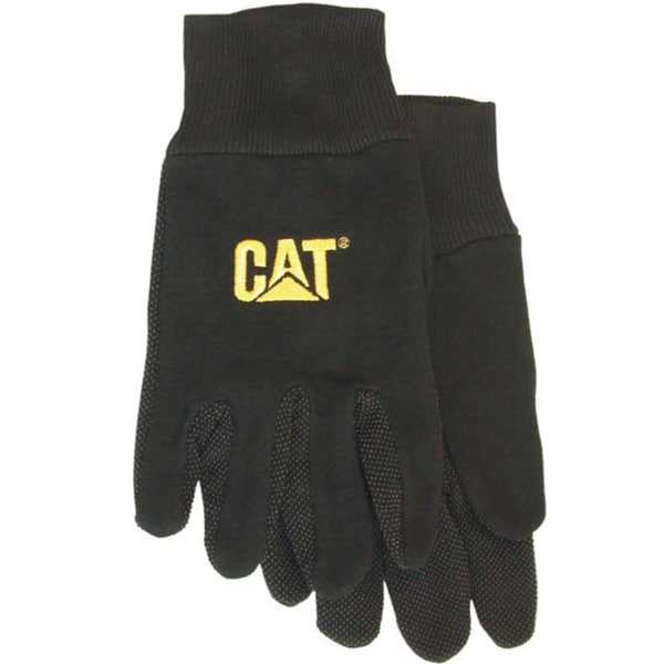 Cat Gloves CAT015400L Large Black Jersey PVC Micro Dotted Palm Gloves