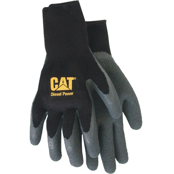 Cat Gloves CAT017410L Black Fully Coated Latex Palm Gloves