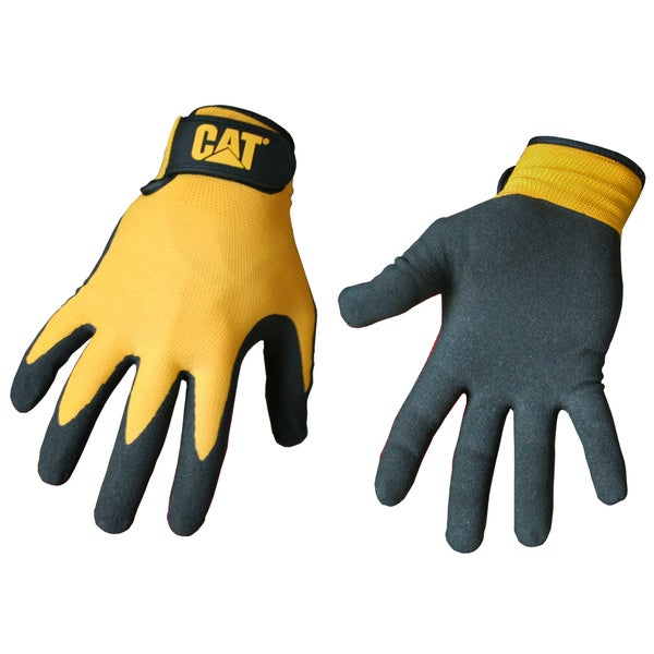 Cat Gloves CAT017416L Yellow Foam Cell Nitrile Coated Gloves