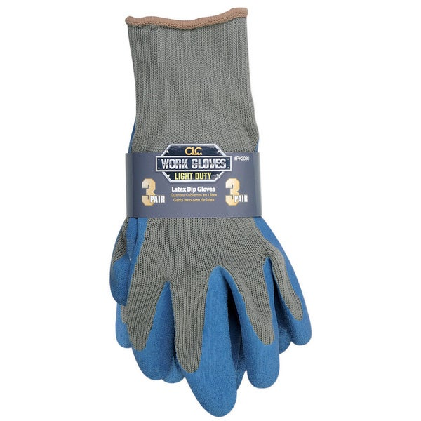 CLC Work Gear P2030L Latex Gripper Gloves Assorted 3-ct