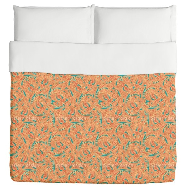 Copper Engraving Orange Duvet