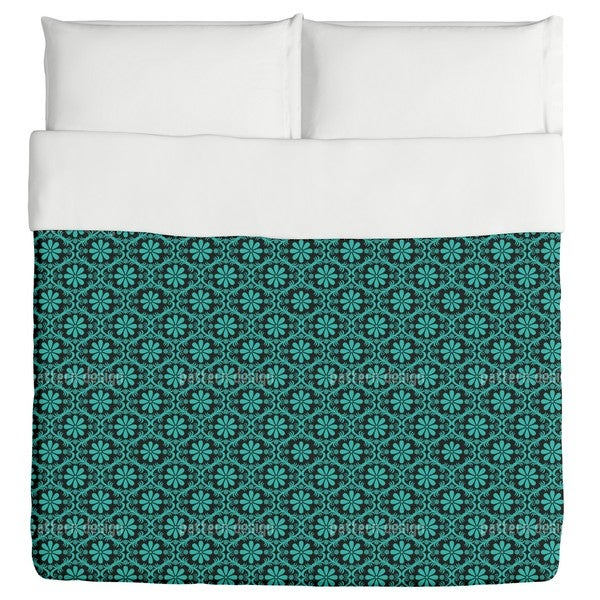 All Over Turquoise Flowers Duvet