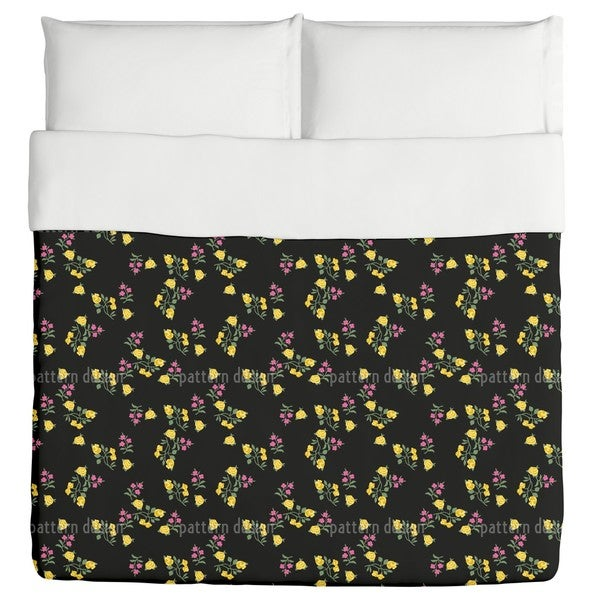 Scattered Flowers On Black Duvet