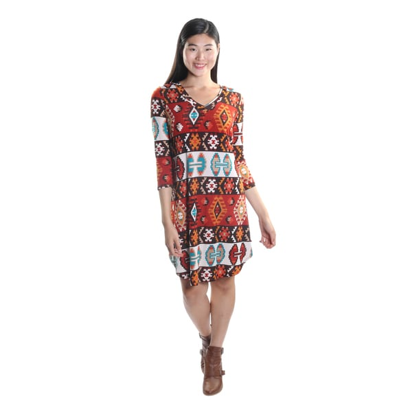 Hadari Women's 3/4 Sleeve V-Neck Boho Pattern Casual Shift Dress