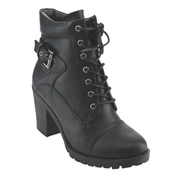 Nature Breeze Women's Black Lace Up Padded Collar Stacked Block Heel Ankle Bootie