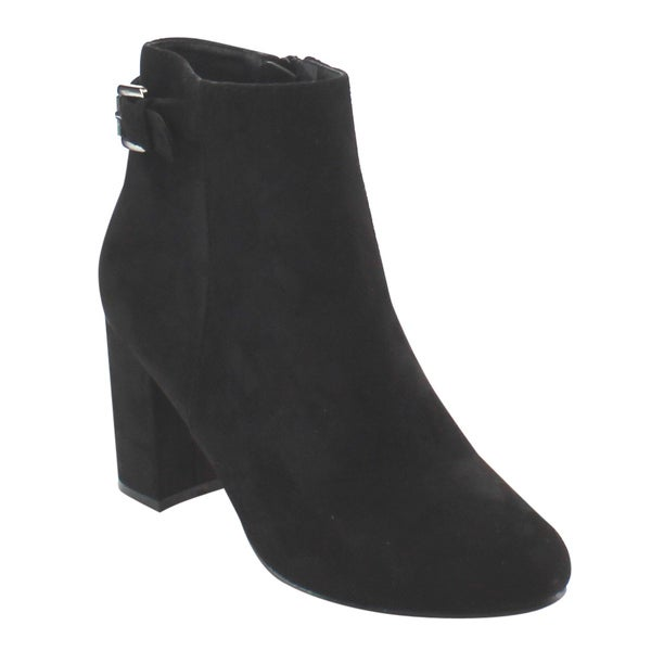 Nature Breeze Women's Black Faux-suede Buckle Strap Chunky Block Heel Ankle Bootie