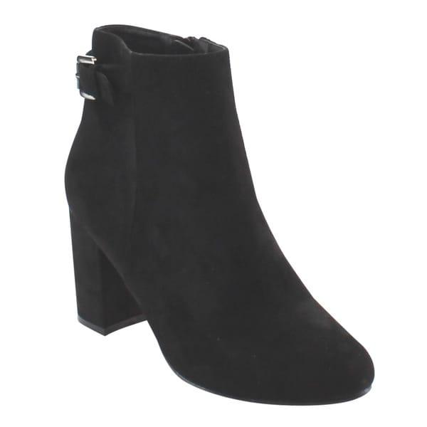 Nature Breeze Women's Black Faux-suede Buckle Strap Chunky Block Heel Ankle Bootie