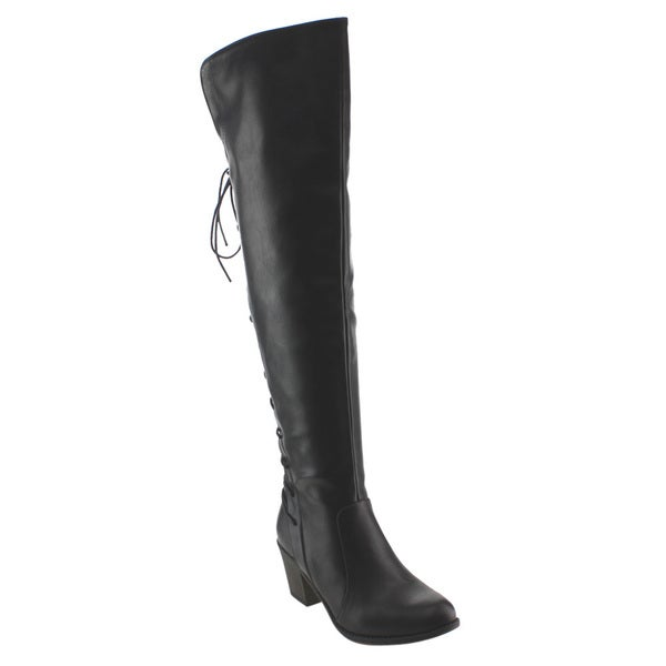 NATURE BREEZE FE03 Women's Back Lacing Knee High Block Heel Boot