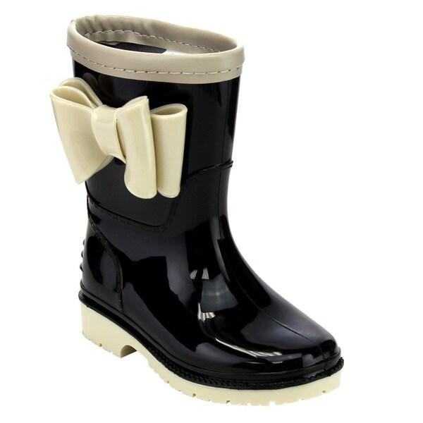 Jelly Beans GD98 Girl's Knotbow Deco Lug Sole Low-heel Mid-calf Rain Boots 20431200