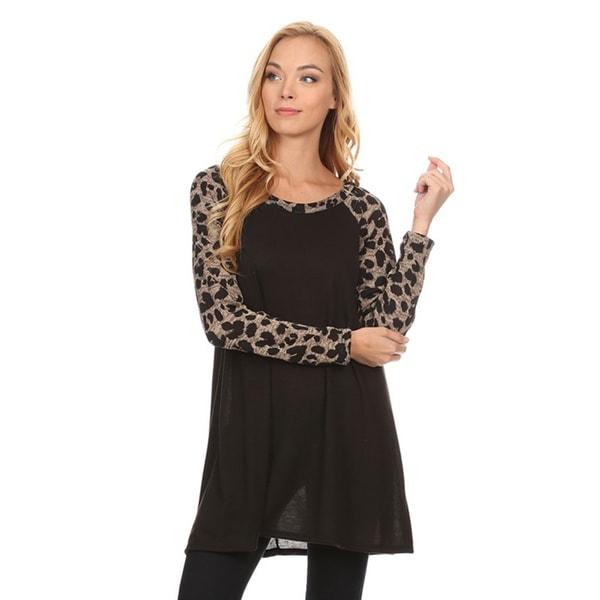 Women's Animal Pattern Sleeve Tunic Top