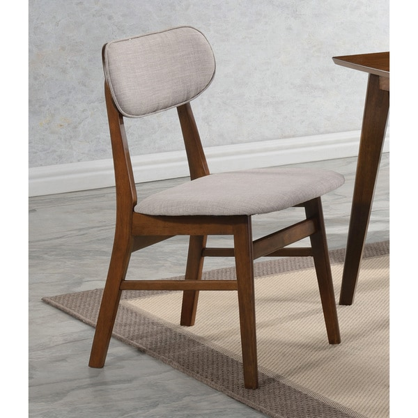 Coaster Chestnut Finish Wood Upholstered Dining Chairs (Set of 2)