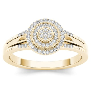 De Couer 10k Yellow Gold 1/6ct TDW Diamond Halo Engagement Ring (H-I, I2)