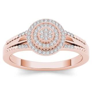 De Couer 10k Rose Gold 1/6ct TDW Diamond Halo Engagement Ring (H-I, I2)