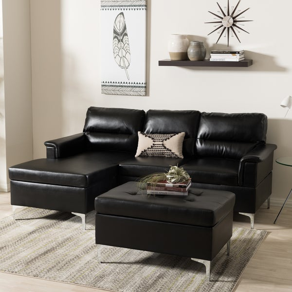 Baxton studio hagne modern and contemporary black faux for 3 piece black modern sectional sofa