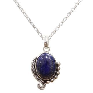 Handcrafted Sterling Silver 'Indian Delight in Blue' Lapis Lazuli Necklace (India)
