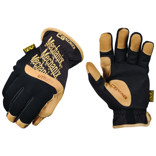 Mechanix Wear CG15-75-009 Black & Brown Leather CG Utility All-Purpose Gloves