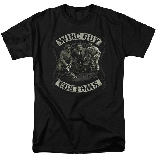 Three Stooges/Wise Guy Customs Short Sleeve Adult T-Shirt 18/1 in Black
