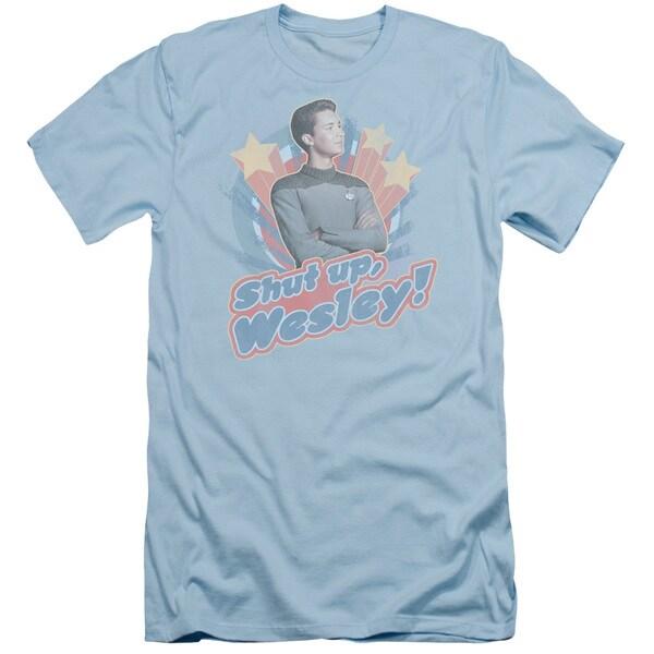 Star Trek/Shut Up Wesley Short Sleeve Adult T-Shirt 30/1 in Light Blue