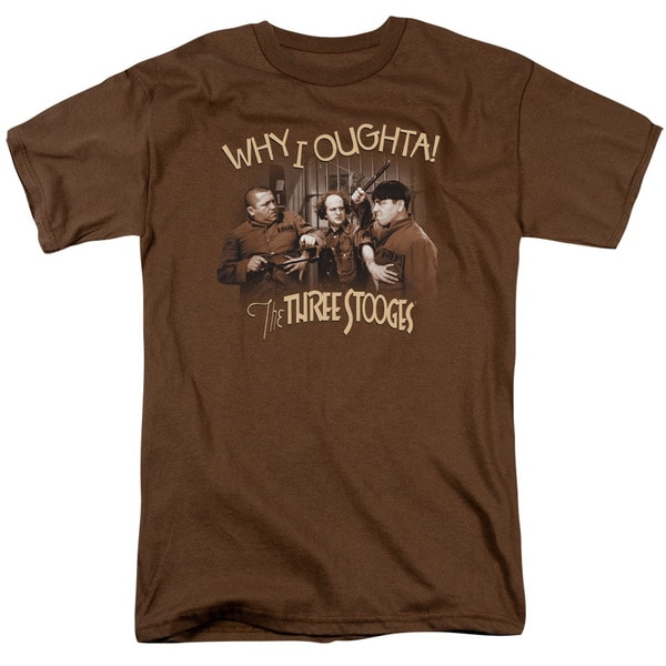 Three Stooges/Why I Oughta Short Sleeve Adult T-Shirt 18/1 in Coffee