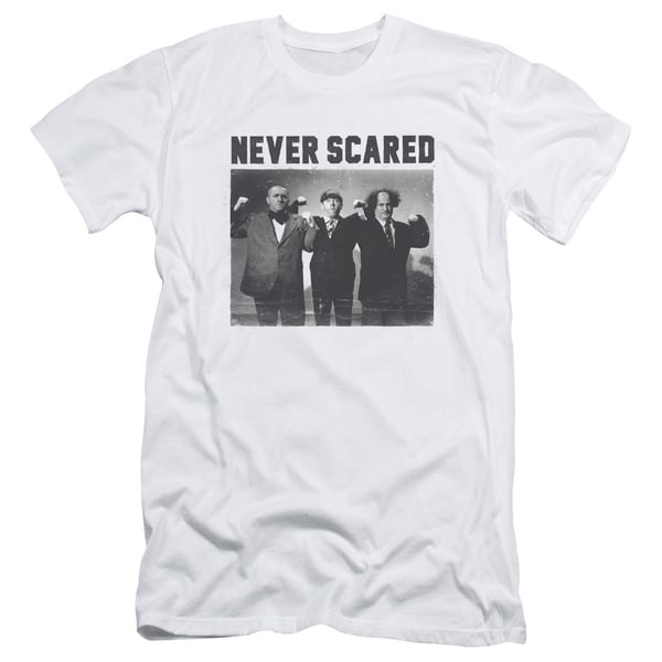 Three Stooges/Never Scared Short Sleeve Adult T-Shirt 30/1 in White