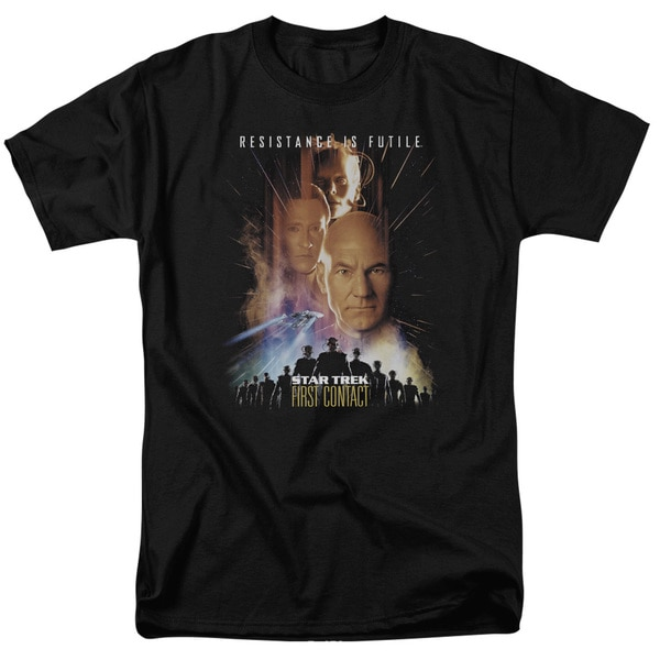 Star Trek/First Contact(Movie) Short Sleeve Adult T-Shirt 18/1 in Black