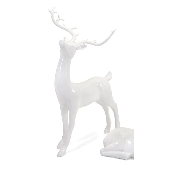 Playful Reindeer- White (antlers KD)-Standing Holiday Decoration (Large)