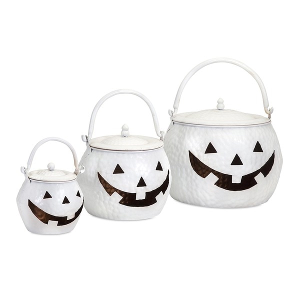 Lidded Pumpkins Shinny White Halloween Decoration (Set of 3)