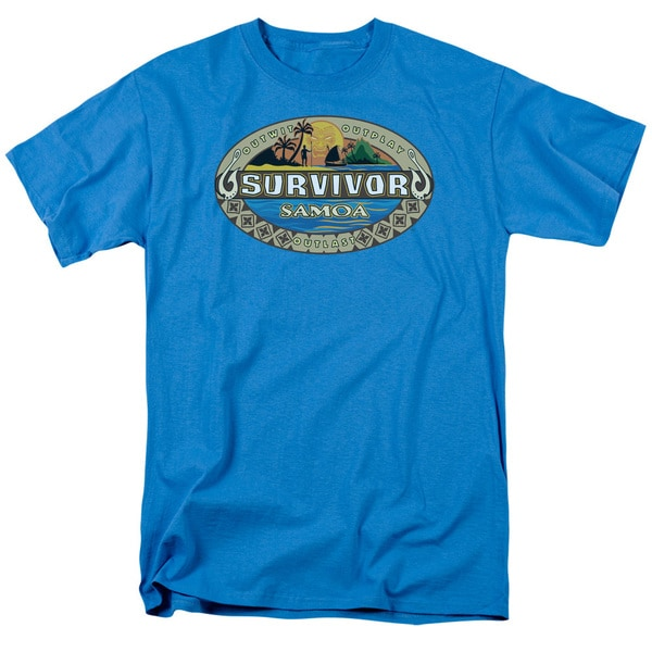 Survivor/Samoa Logo Short Sleeve Adult T-Shirt 18/1 in Turquoise