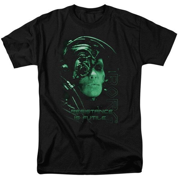 Star Trek/Resistance Is Futile Short Sleeve Adult T-Shirt 18/1 in Black