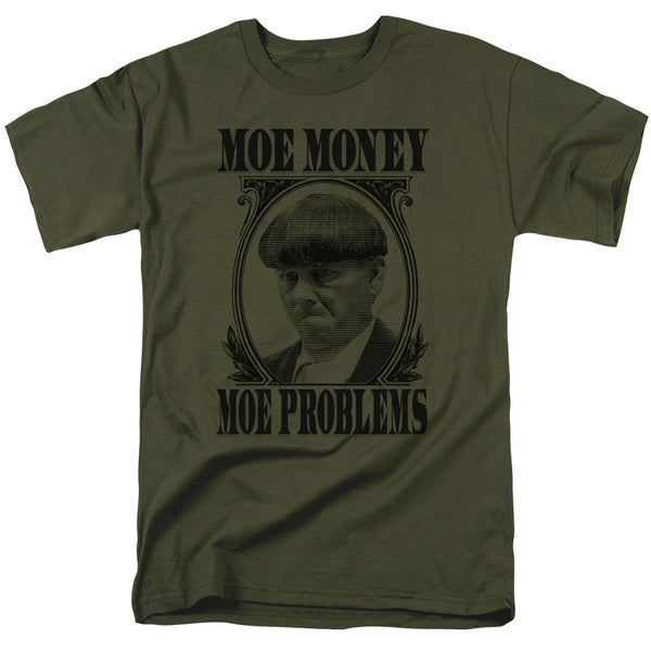 Three Stooges/Moe Money Short Sleeve Adult T-Shirt 18/1 in Military Green