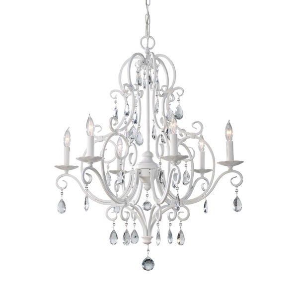Feiss Chateau Blanc 6 Light Semi Gloss White Chandelier