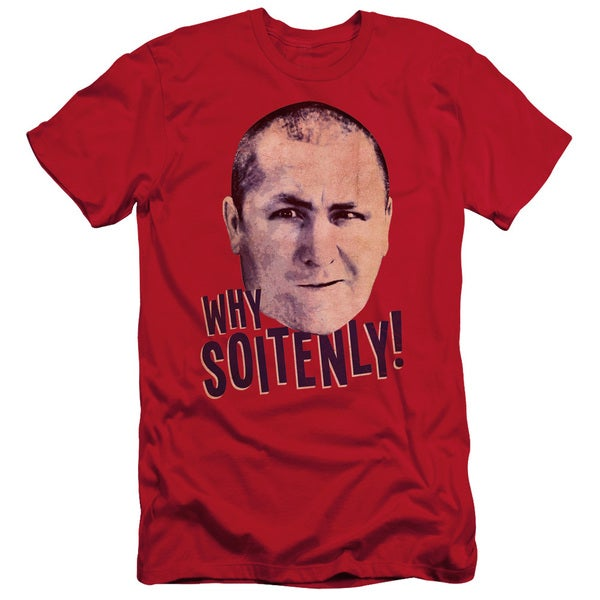 Three Stooges/Why Soitenly Short Sleeve Adult T-Shirt 30/1 in Red