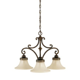 Feiss Drawing Room 3 Light Walnut Chandelier