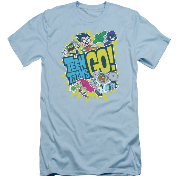 Teen Titans Go/Go Short Sleeve Adult T-Shirt 30/1 in Light Blue