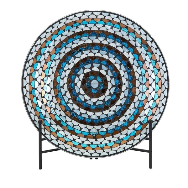 Cordelia Glass Mosaic Decorative Charger with Stand 20439549