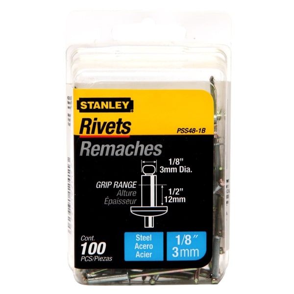 "Stanley Hand Tools PSS48-1B 1/8"" X 1/2"" Steel Rivets 100-ct"