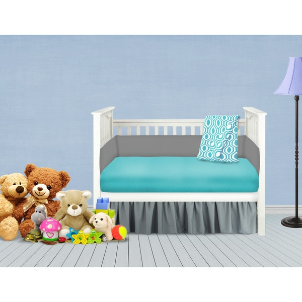 American Baby Company Grey and Aqua 4-piece Baby Crib Bedding Set