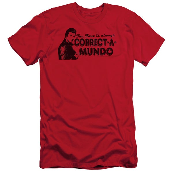 Happy Days/Correct A Mundo Short Sleeve Adult T-Shirt 30/1 in Red